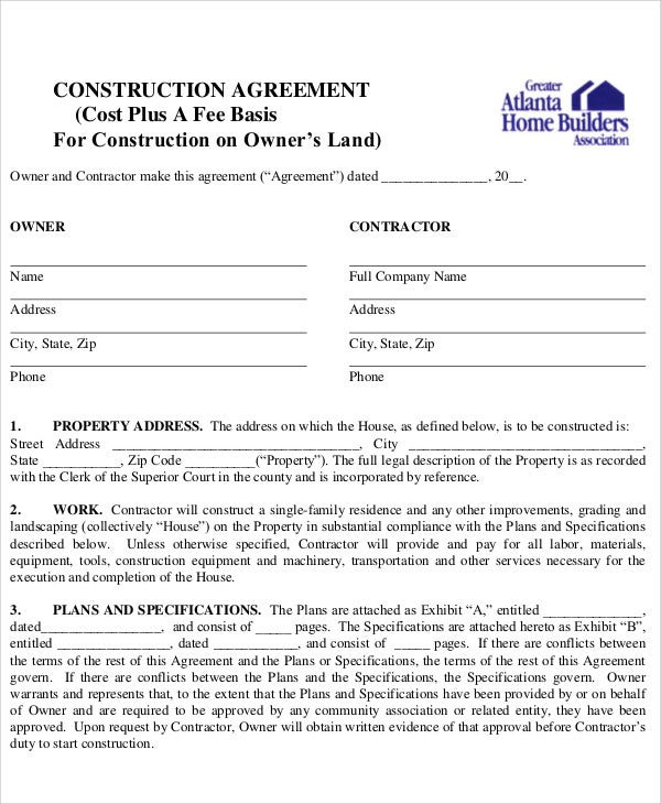 13  construction agreement templates
