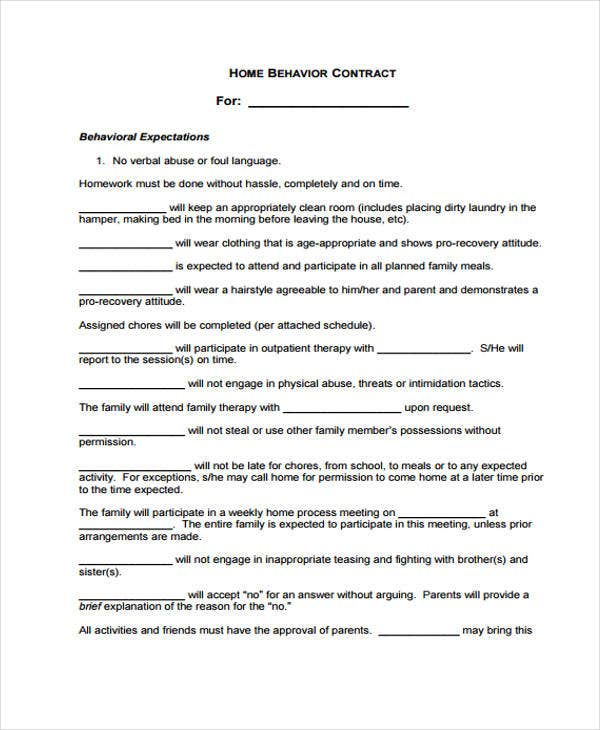 Behavior Contract Employee Behavior Contract Template Behavior