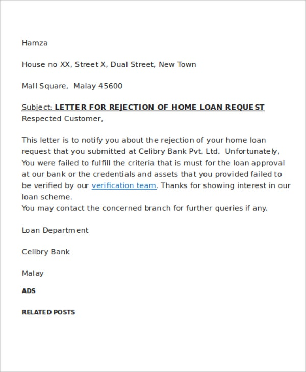 Loan rejection letter templates 7 free word pdf format download home loan altavistaventures Gallery