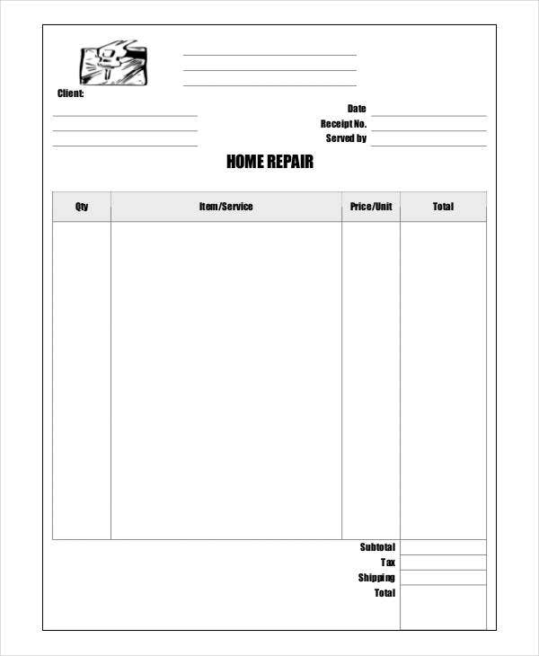Repair Receipt Templates 7 Free Word Pdf Excel Format Download