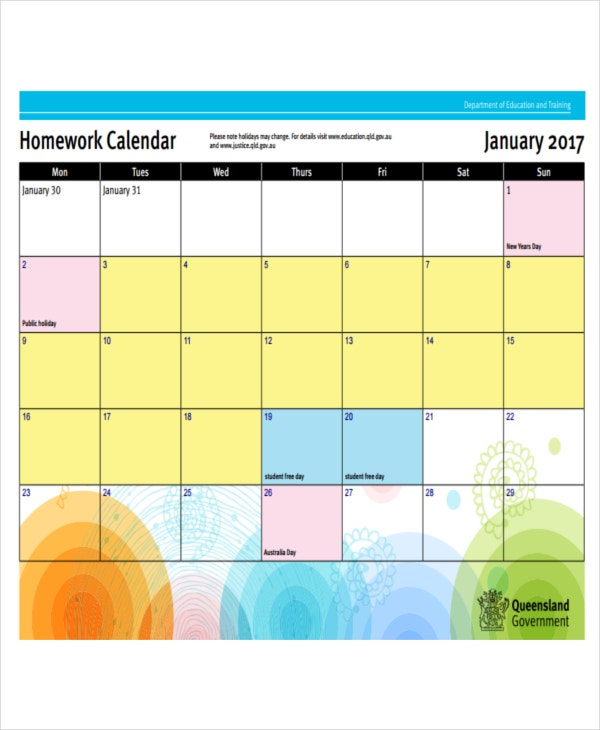 homework calendar sample