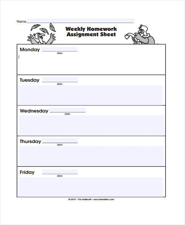 homework sheet template