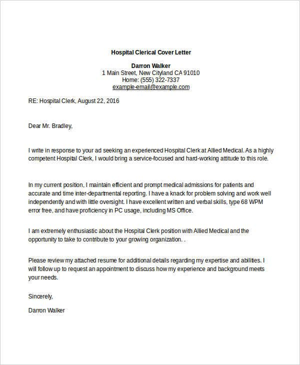 10 Clerical Cover Letter Templates Free Sample Example