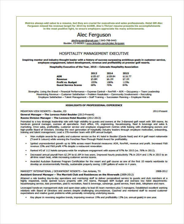 9 hospitality curriculum vitae word pdf free for Cv template for hospitality industry
