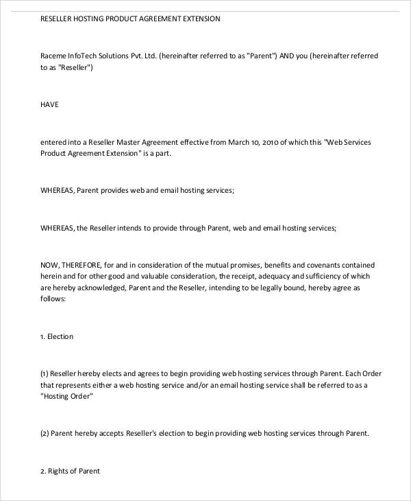 Hosting Agreement Templates   Free Word Pdf Format Download