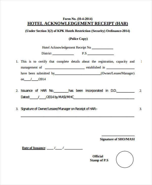 Receipt For Hotel  Acknowledgement Receipt Sample