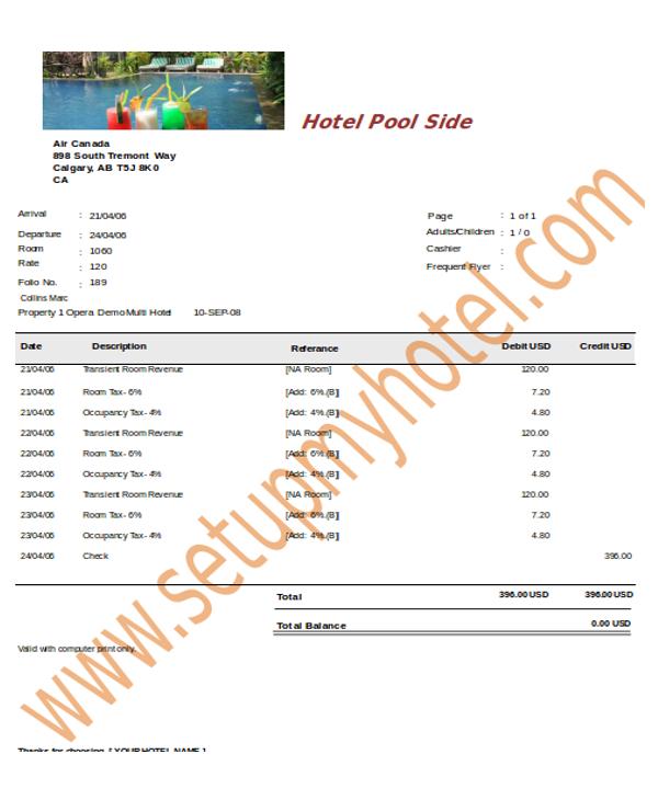 hotel bill receipt