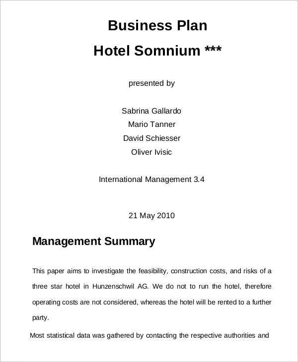 hotel management business plan