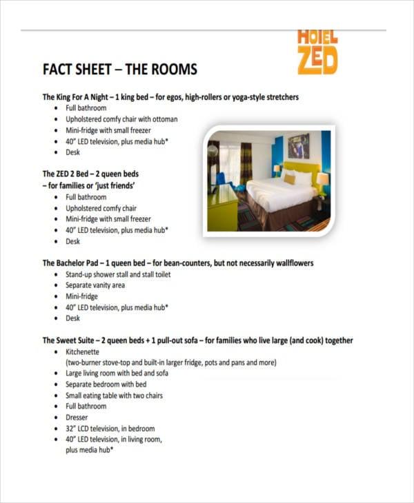 hotel room fact sheet