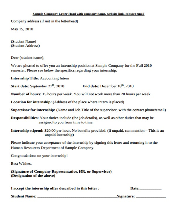 8+ Internship Offer Letters - Free Samples, Examples Format Download ...