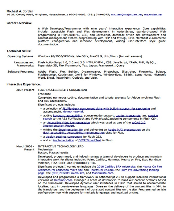 10+ Developer Curriculum Vitae Templates - Word, PDF | Free ...