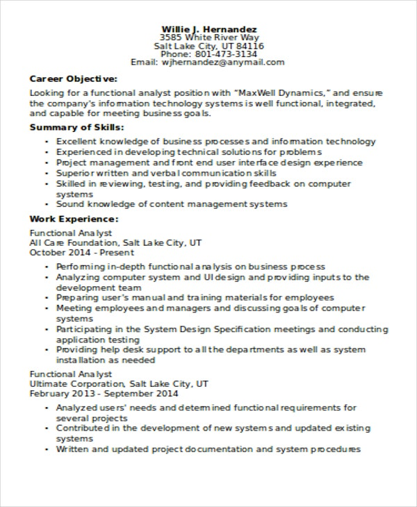 functional analyst business analyst cover letter examples