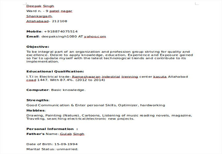 iti fresher resume sample
