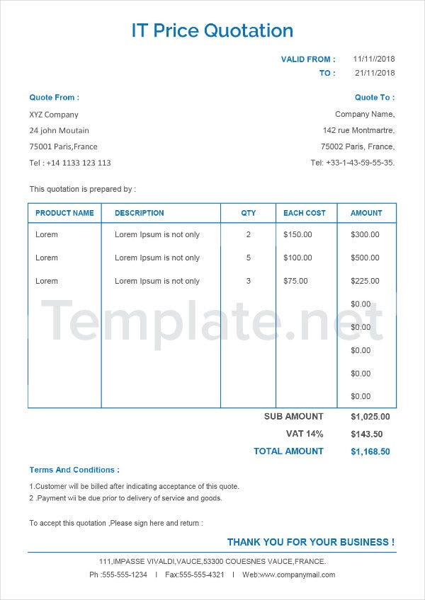 IT Quotation Template