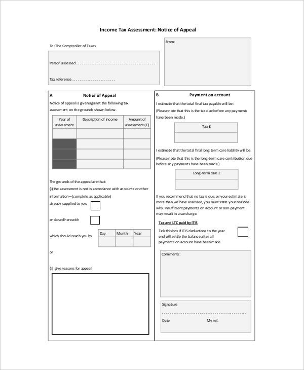 Notice Of Assessment Templates  Free Samples Examples Format