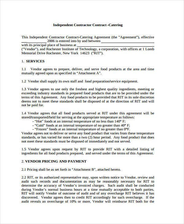 Catering Contract Templates  Free Sample Example Format