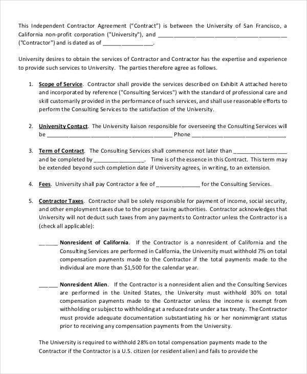 7 Independent Contract Templates Free Word Pdf Format Download