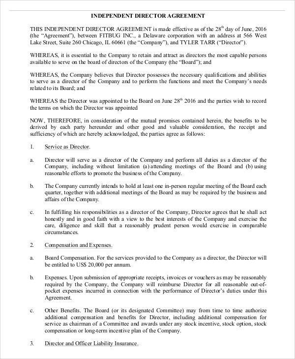 independent director agreement