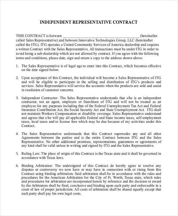 Independent Contract Templates  Free Word Pdf Format Download