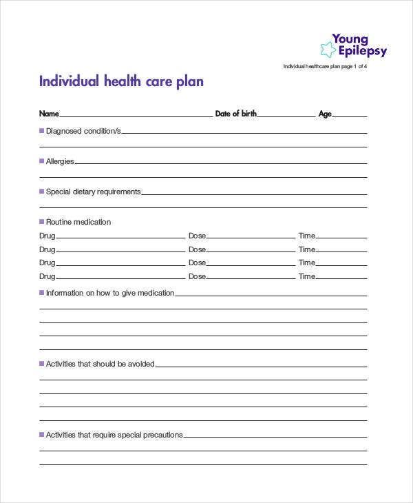 Individual Healthcare Plan Template