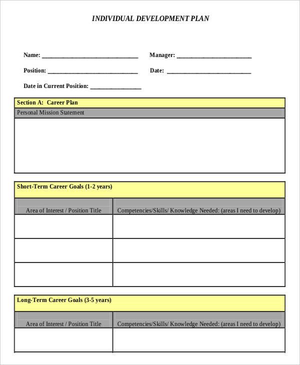 individual plan format