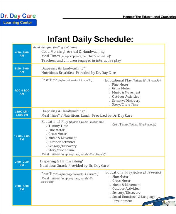 Child Care Schedule Template. examples daily schedules images ...