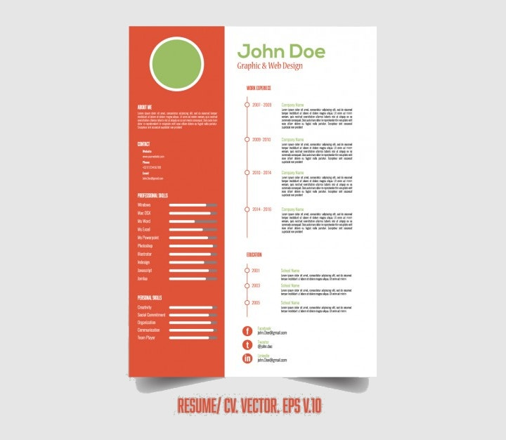 Infographic resume template psd free