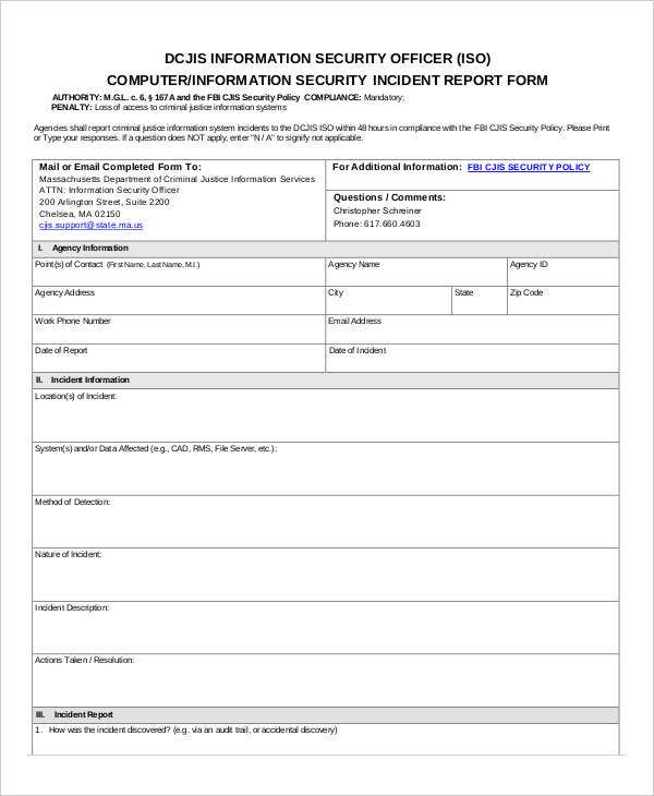 information security standards template - 33 incident report format free premium templates
