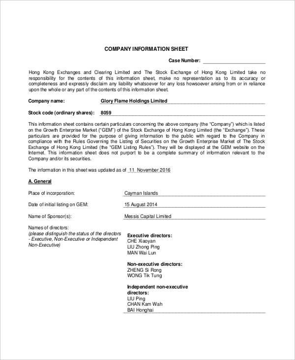 information sheet1