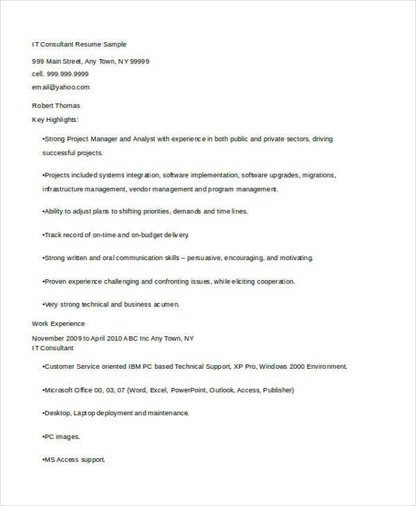 technology consultant resume