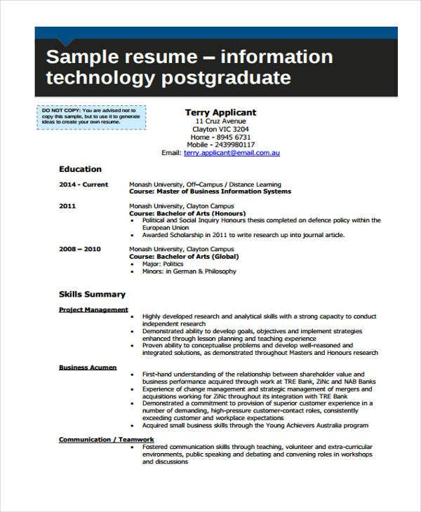 8 Information Technology Resumes Free Sample Example Format