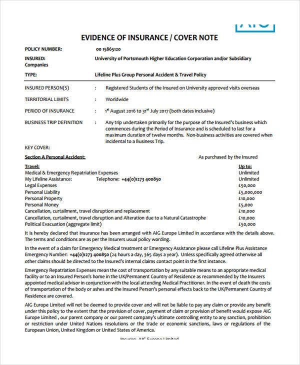 insurance cover note template  28  Free Note Templates | Free