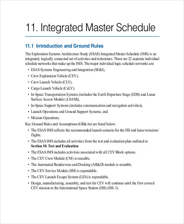 integrated schedule