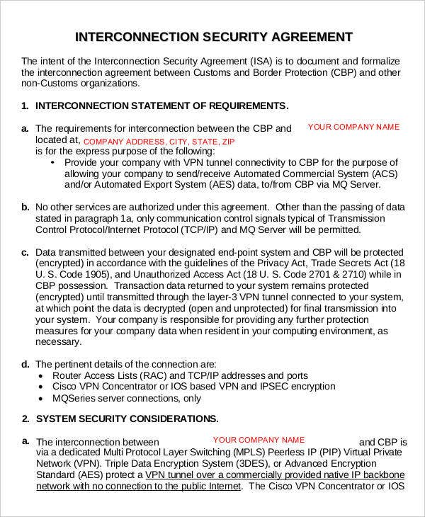Interconnection agreement templates 12 free word pdf for Security contracts templates