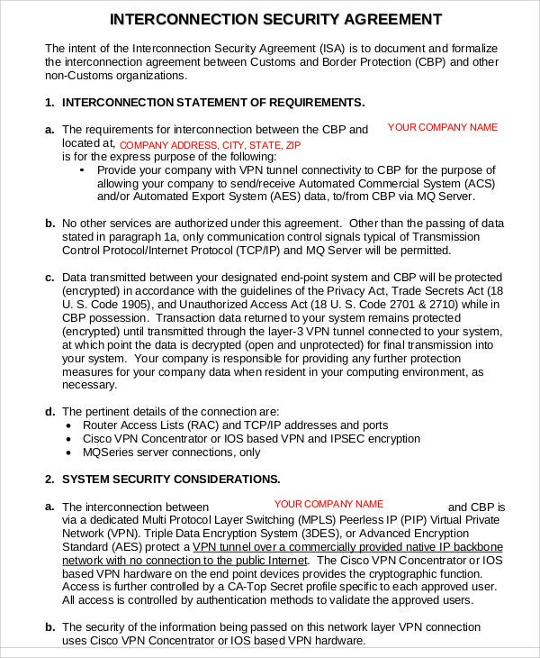 Security Agreement Interconnection Security Interconnection