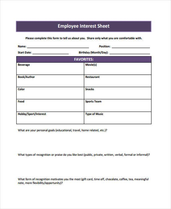 interest sheet