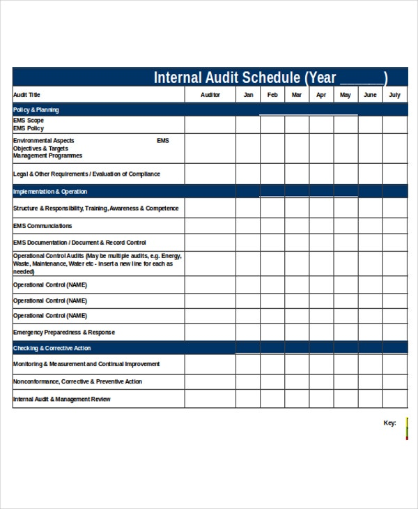 internal audit procedure template - 25 schedule templates in excel free premium templates