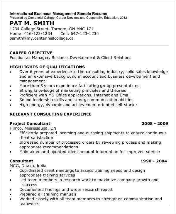 International Business Management Sample Resume
