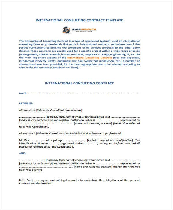 42 sample contract templates free premium templates for International trade contract template