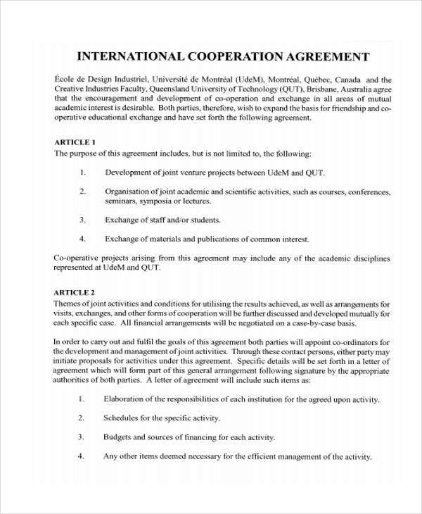 10 cooperation agreement templates word pdf format for International trade contract template