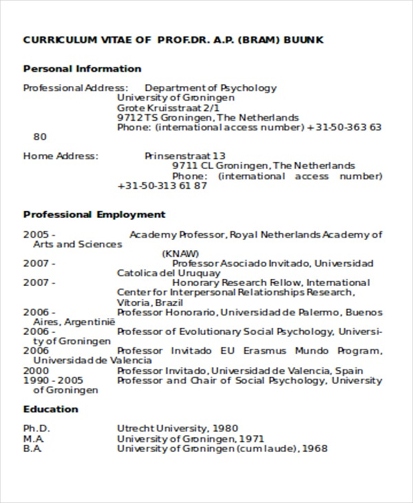 international curriculum vitae in word