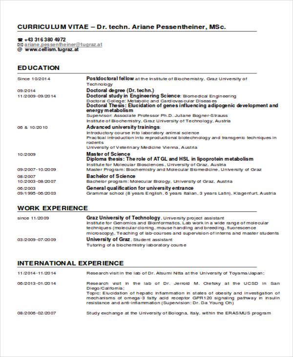 9  international curriculum vitae