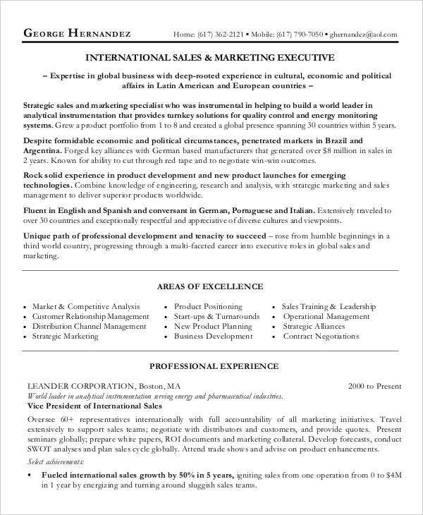 International Sales Marketing Executive Resume