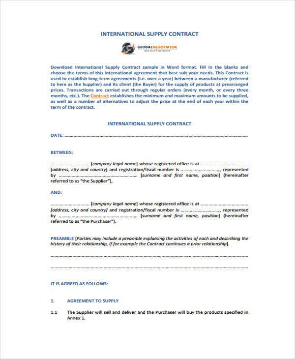 9 supply contract templates sample example free for International trade contract template