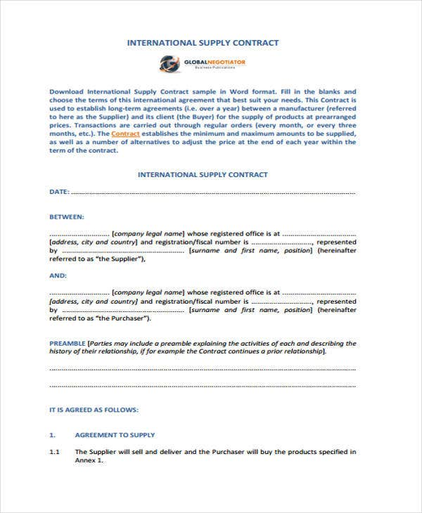 8+ Supply Contract Templates - Free Word, PDF Format Download | Free ...