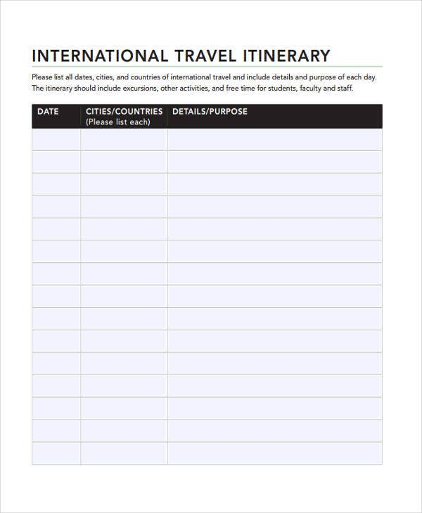 international travel example