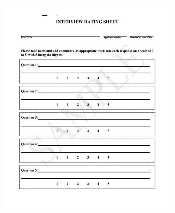 Interview Sheet Templates   Free Pdf Format Download  Free
