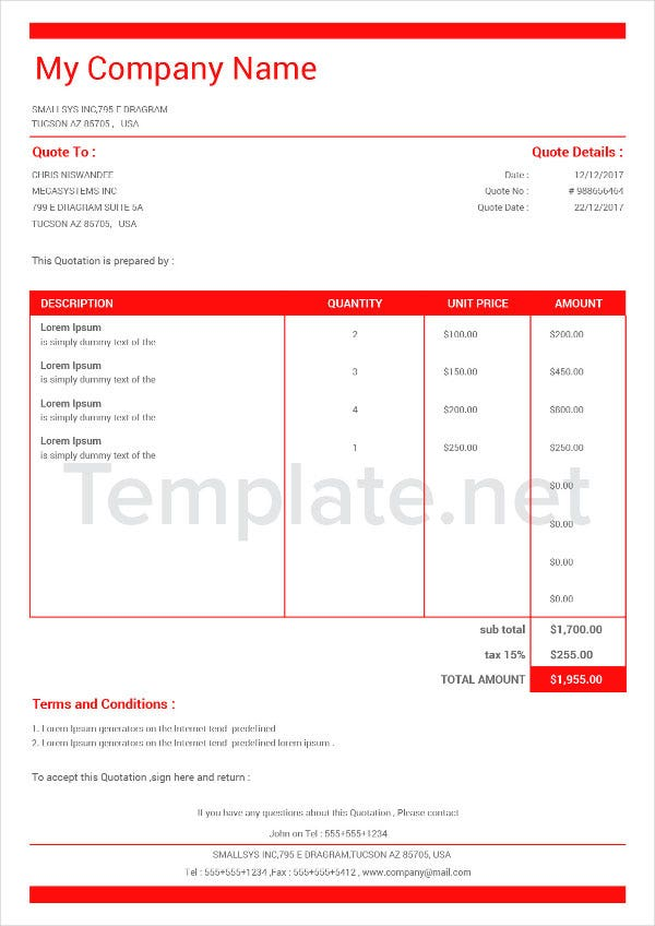 Invoice Quotation Template