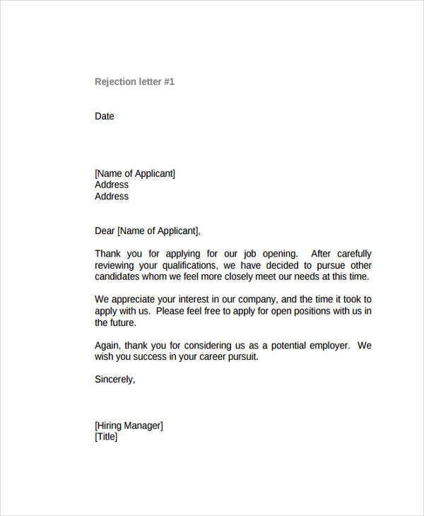 Polite Rejection Letter Examples