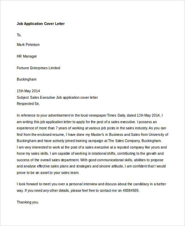 Job-Application-Cover-Letter2 Job Application Cover Letter Basics on